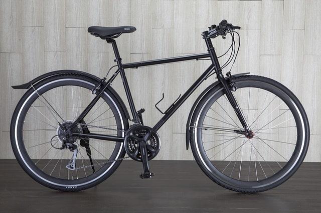 A black hybrid bike
